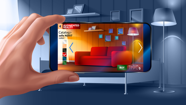 smartphone using AR to visualize couch in a room